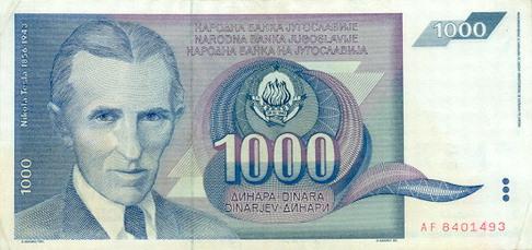 Nikola Tesla Banknoten
